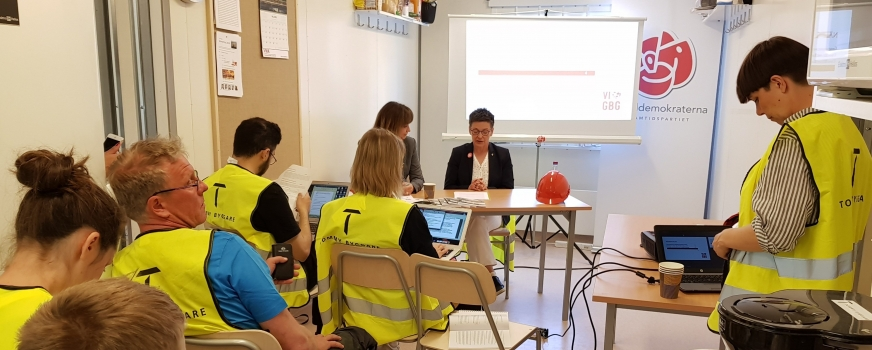 Socialdemokraterna i Göteborg väljer Götaporten som scen när de presenterar sitt valprogram inför höstens kommunalval.